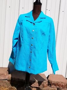 6c28289e34b New Women 1X LAURA ASHLEY Jacket Long Sleeve Teal Blue color ...