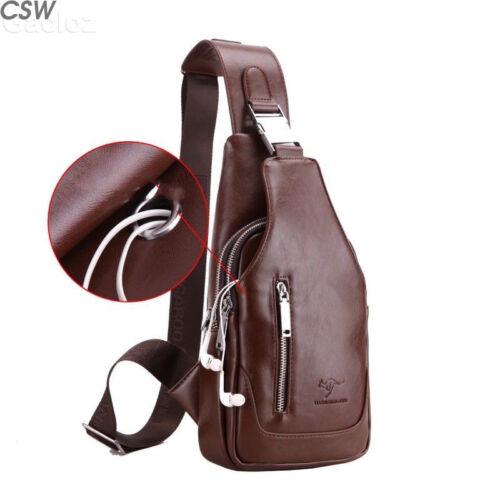 Mens Chest Bag Shoulder Leather Backpack Sling Cross Body Satchel Travel Bag NEW