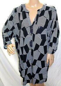 581f525b639 Davina Women Plus Size 20 22 24 26 28 Black White Tunic Top Blouse ...