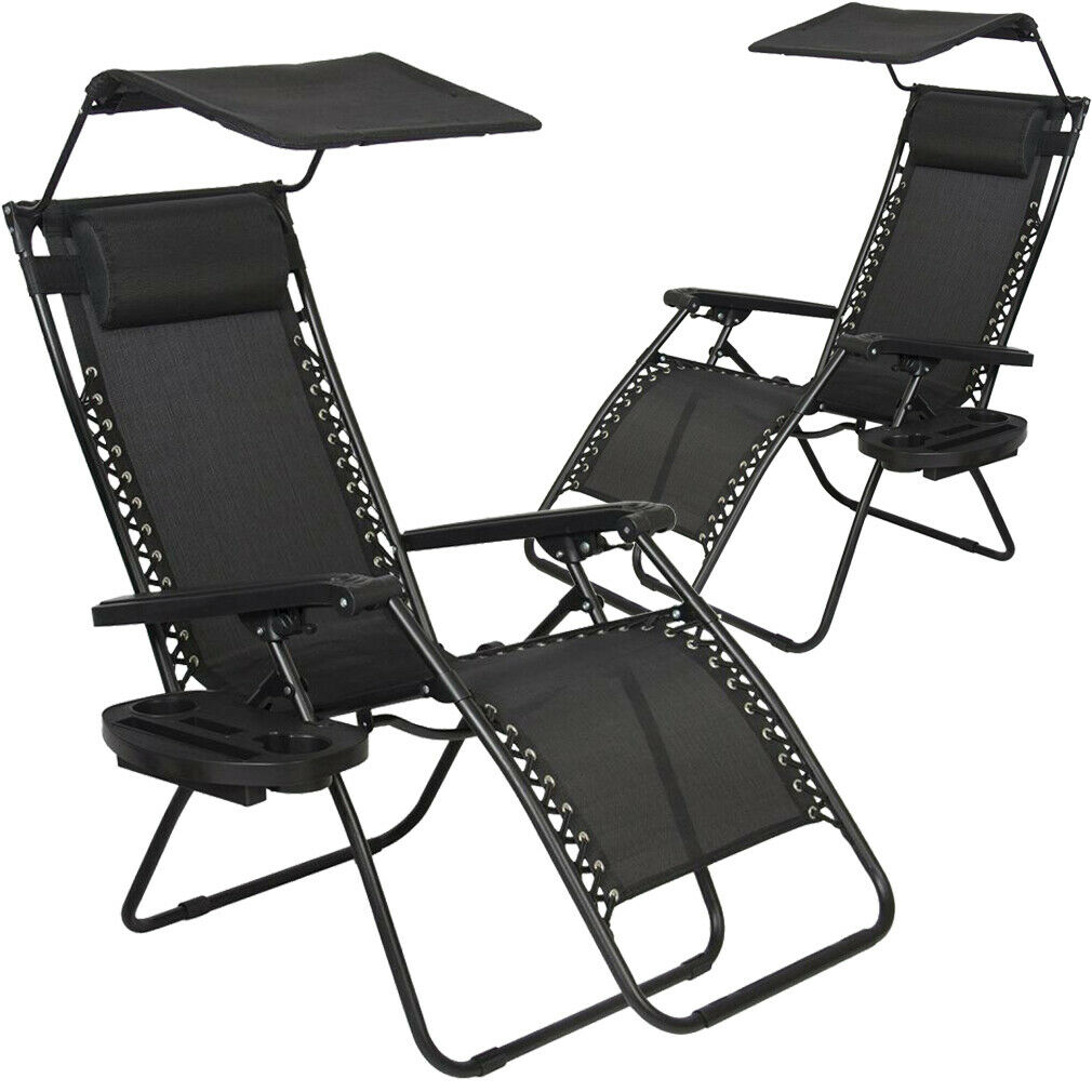 Details About New 2 Pcs Zero Gravity Chair Lounge Patio Chairs With Canopy Cup Holder Ho20