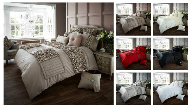 Designer Ruffles Duvet Cover Set With Pillow Cases, Luxury Bed Linen Quilt Sets