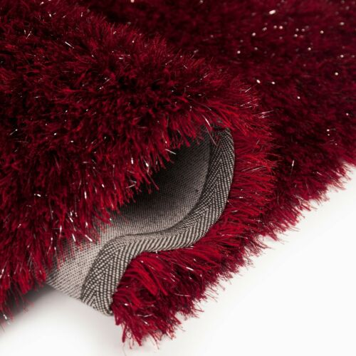 DAZZLE SPARKLE SPARKLY RED SILKY THICK LONG 6cm PILE GLAMOUR GLITTER SHAGGY RUG