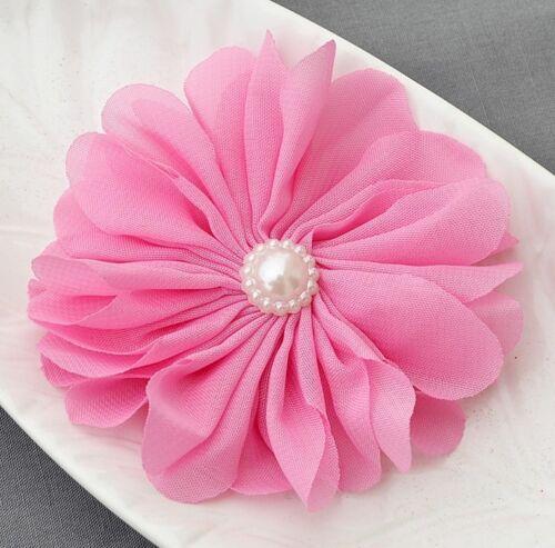3 pcs Chiffon Flowers Fabric Rhinestone Pearl for Bridal Wedding Baby Hair Comb