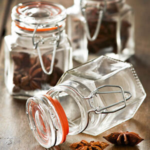Set Of Glass Clip Top Seal Spice Jars Dried Herbs Chutney Jam