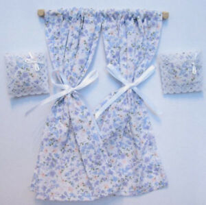 1/12 dolls house blue Miniature Curtains on rail & Cushions miniature DIY LGW