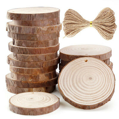 50 Pieces 5-6cm Unfinished Predrilled Wood Slices Round Log Discs With 393 Feet