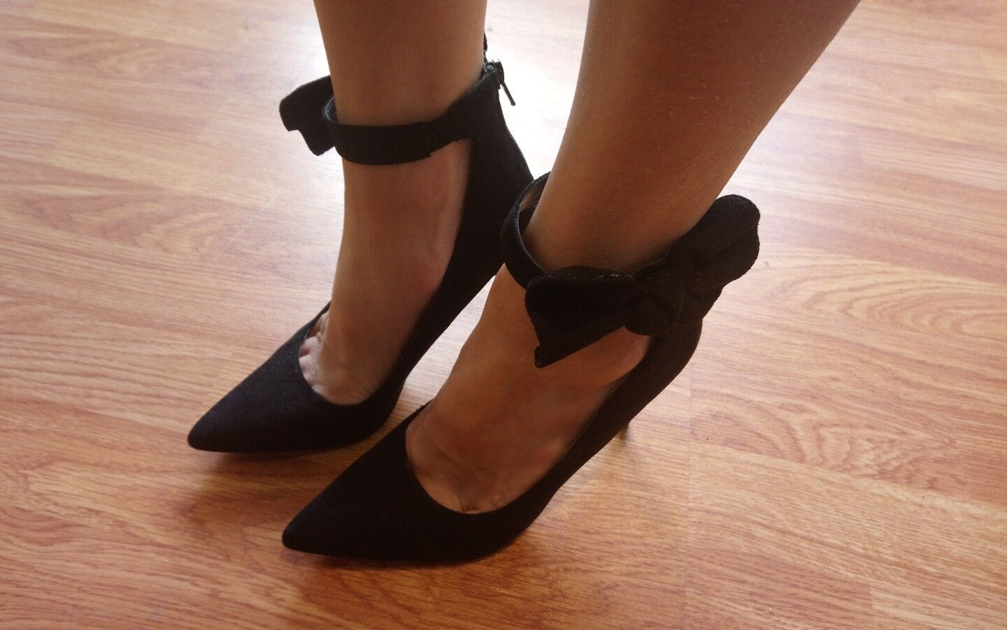 Women Ladies New Black Bow Heels Cute Party Club Shoes Sandals Size 6.5