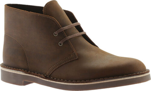 NEW Mens Clarks Bushacre 2 Brown Beeswax Leather Chukka Boots Shoes AUTHENTIC