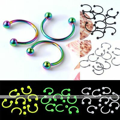 10pcs Stainless Steel Hoop Horseshoe Ear Labret Nose Lip Septum Piercing Punk
