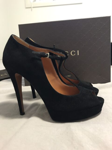 Women's Gucci High Heels Black Leather Size 7 (38)