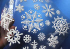 34 pcs Christmas 3D Snowflakes Decor Window Wall Sticker Self Adhesive Xmas