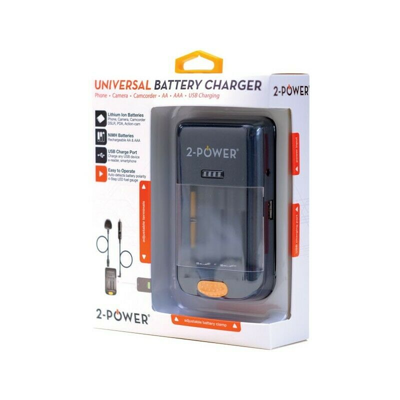 2 Power Universal Battery Charger Phone/Camera/Camcorder/ AA / AAA / USB (UK)NEW