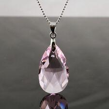 Rose Pink Teardrop Crytal 925 Silver Necklace with genuine Swarovski Elements