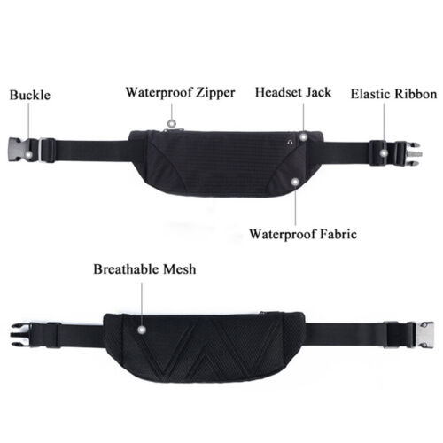 Unisex Running Bum Bag Fanny Pack Travel Waist Coin Belt Zip Hiking Pouch Wallet
