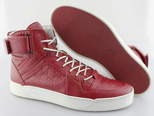 86dbc2bee Men's GUCCI 'New Basketball' Red Leather Sneakers Size US 11.5 - D ...