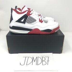 Air-Jordan-4-Retro-Fire-Red-Sneakers-2020-Size-3Y-White-Red-BQ7669-160-Kids