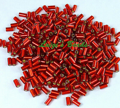 15g Silver-Lined Frosted Ruby #25CF-TOHO Bugle Glass Seed Beads 3mm Sz 1