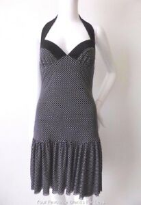 RAZAK-Made-In-Australia-Size-8-10-US-4-6-Black-and-White-Halter-Neck-Dress