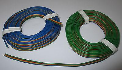 1 m = 0,695eur Vierlingslitze 2x5m bleu-jaune-rouge-vert Câble Ruban Neuf