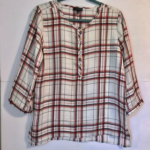 The Limited Blouse Red Black White and Gold Tarta… - image 1