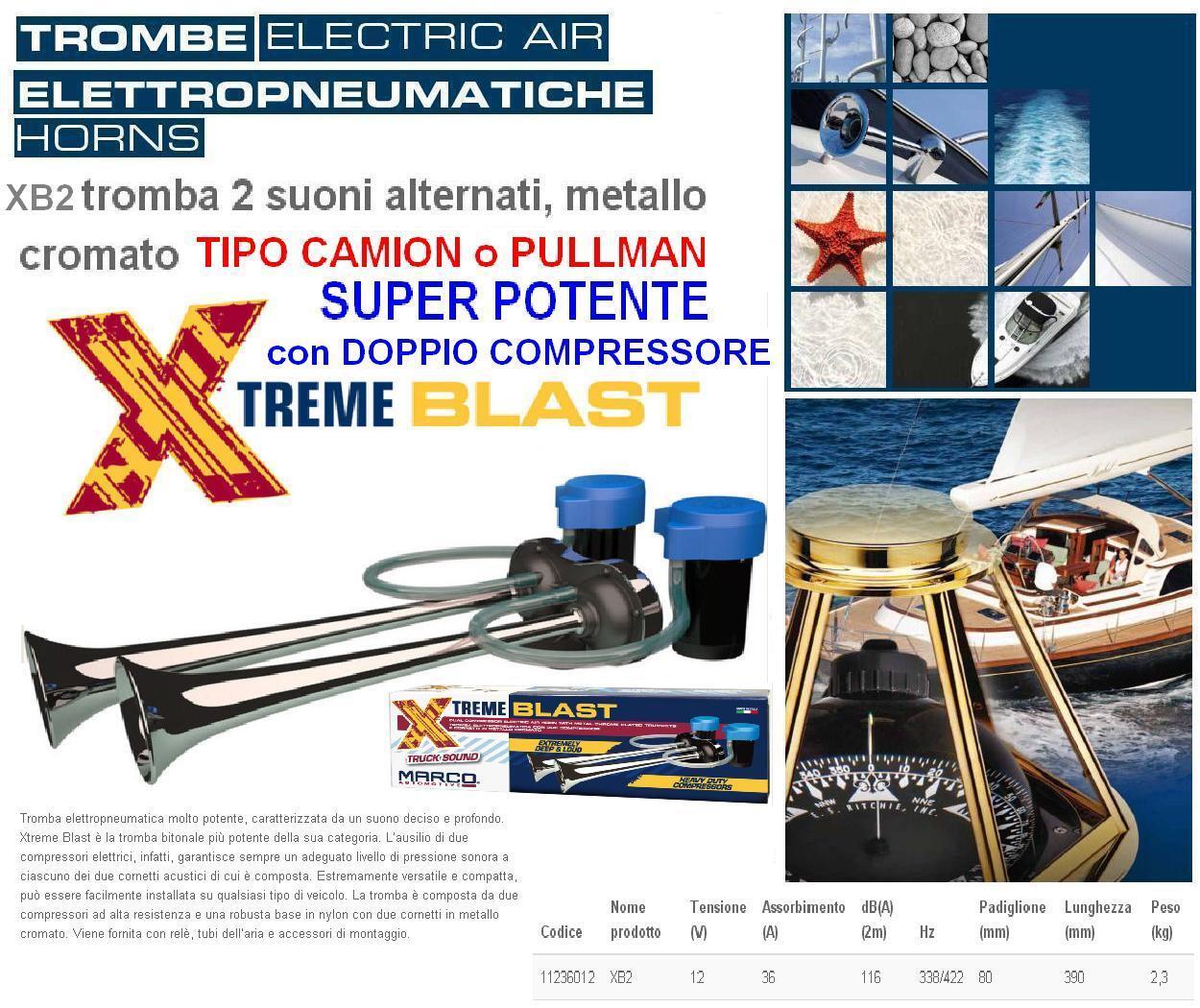 Trompete MARINA 2 Kompressoren Typ PULLMAN LKW Pneumatisch 116dB 12V Stiefel XB2