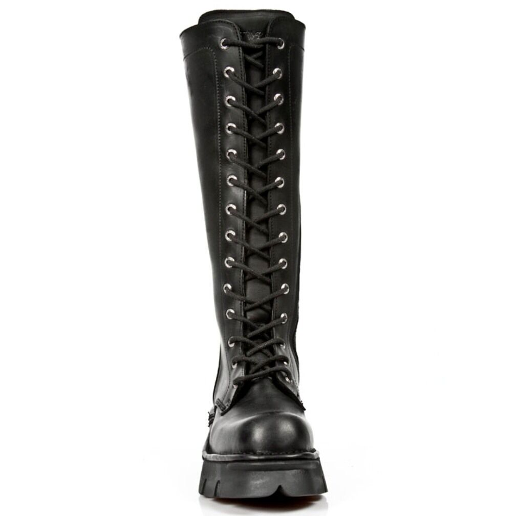 New Stiefel Rock Stiefel New Unisex Punk Gothic Stiefel - Style 235 S1 Schwarz 0d0033