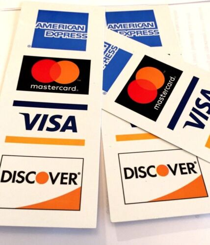 5 PACK VERTICAL CREDIT CARD LOGO DECAL STICKERS Visa//MasterCard//Discover//Amex