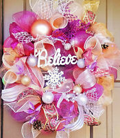Handmade Pink & Silver Deco Mesh Christmas Wreath 24 Believe Holiday Door Decor