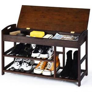 3-Tier Bamboo Shoe Storage Bench Shoe Organizer Entryway Rack Stand Display
