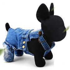 S Jeans Pet Dog Puppy Jacket Coat Clothes Poodle Strap Jumpsuit Clothes Apparel