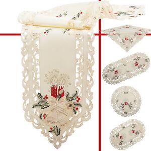 Weihnachten-Tischlaeufer-Tischdecke-Mitteldecke-Rot-Kerzen-Stickerei-auf-Creme