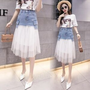 7f31a4f222 Details about Women Girls Slim Denim Mesh Irregular Jeans Skirts Casual  Fashion Midi Dress New