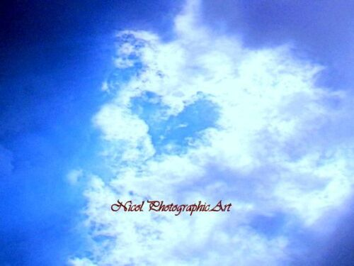 Charming Cloud Heart Signed Matted Picture Art Print Photo Made in USA A602