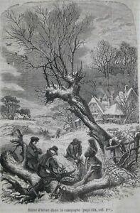 Efficace Gravure 1858 Scene D'hiver Dans La Campagne Ferme Paysans Froid Neige France