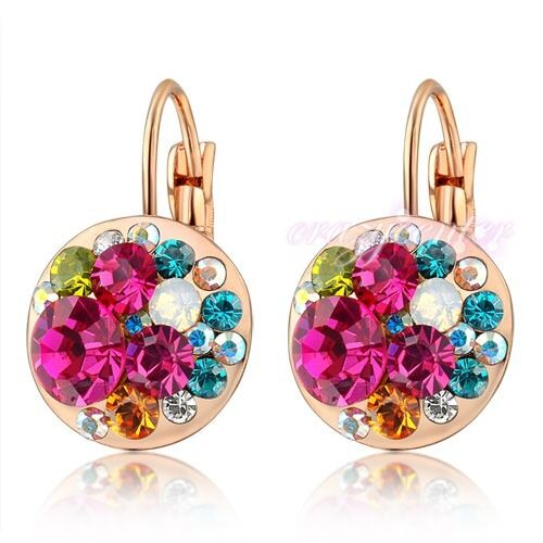 Fashion Rose gold plated Multi-color crystal earring dangle/drop women gift E642