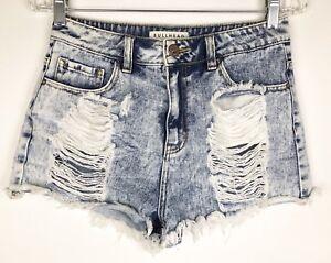 Bullhead-Denim-Womens-Mom-Short-Shorts-Destroyed-Size-9-Acid-Wash
