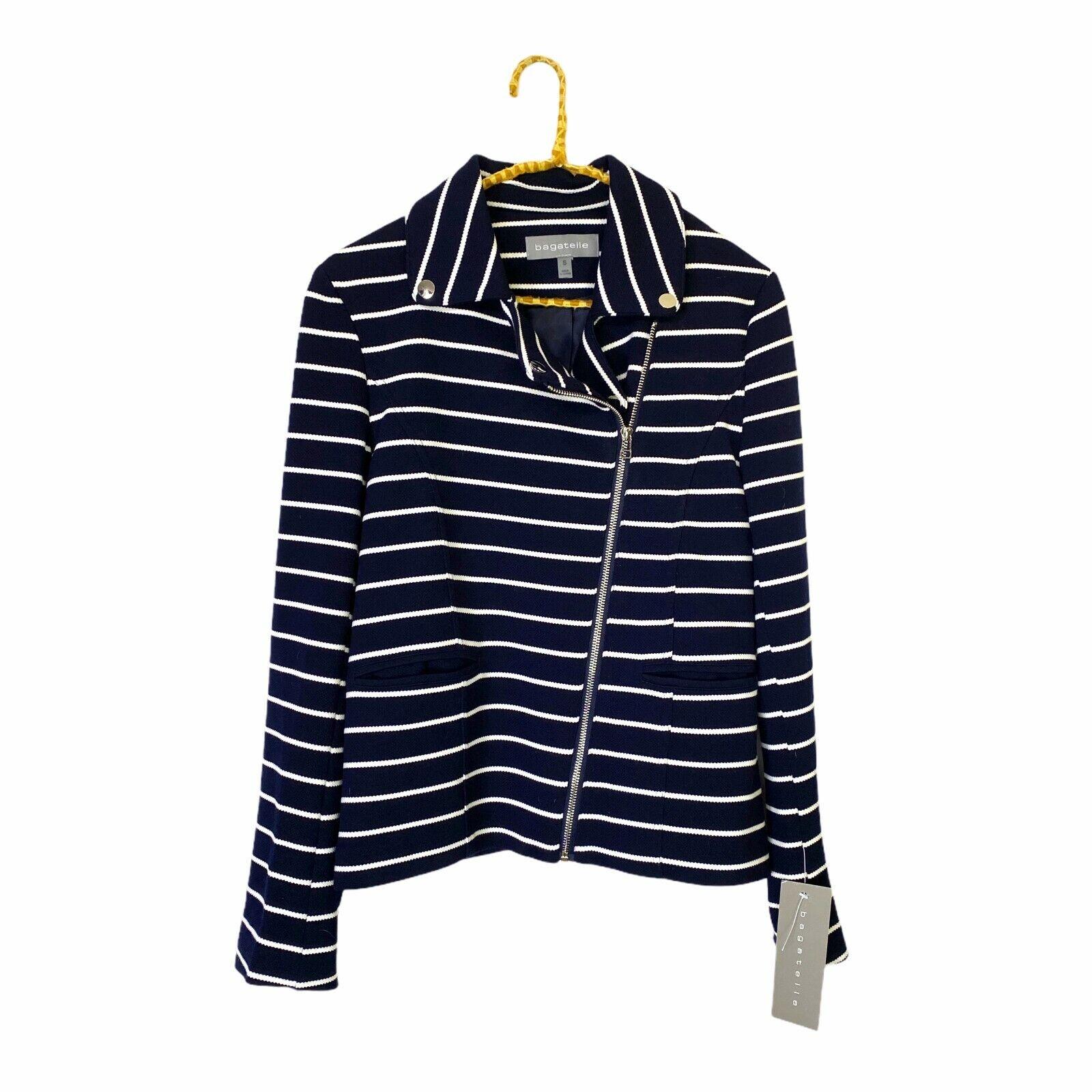 Bagatelle Navy Blue White Striped Stripes Nautical Moto Jacket NWT Size Small