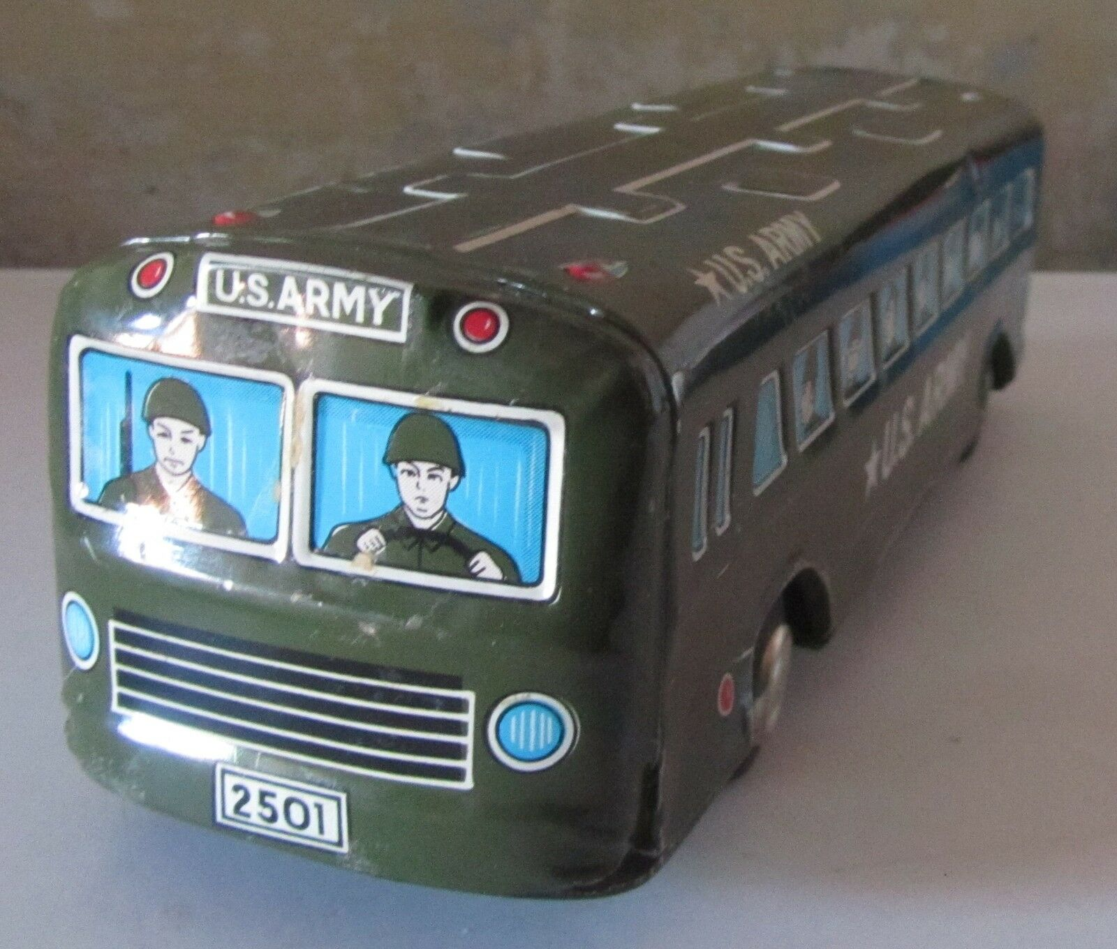 Bus Autobus Furgone Militare USA ARMY TM Vintage Tin Juguete Latta Made In Japan