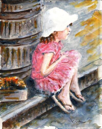 """/""""Que Sera/"""",Gift Idea,Kids child birthday aceo A628-ORIGINAL WATERCOLOR PAINTING"""