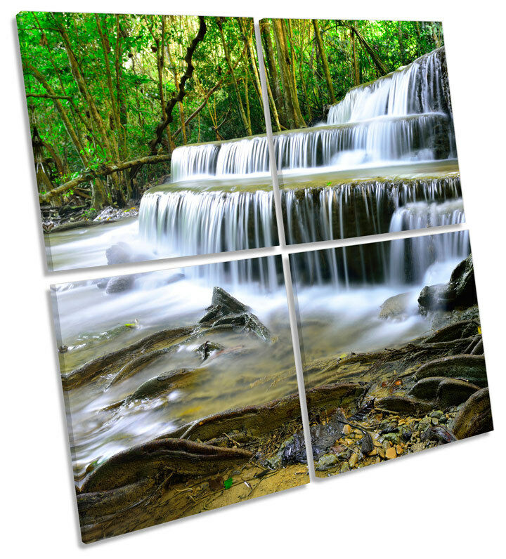 Forest Waterfall Cascading MULTI CANVAS WALL ART Square Print