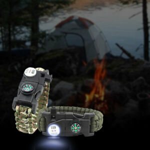 1pc Emergency Paracord Bracelet 20 in 1 Survival LED Compass Outdoor Tool