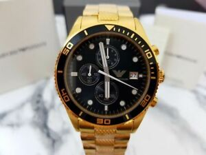 NEW-GENUINE-EMPORIO-ARMANI-AR5857-GOLD-STAINLESS-STEEL-CHRONOGRAPH-MEN-039-S-WATCH