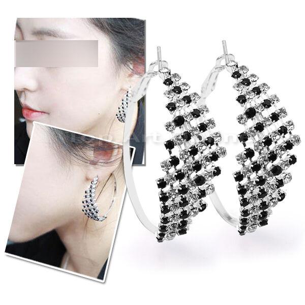 Elegant Attractive Bling Crystal White Black Rhinestone Hoop Dangle Earrings