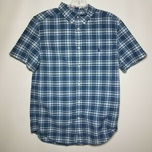 Polo-Ralph-Lauren-Boys-XL-18-20-Blue-White-Plaid-Short-Sleeve-Button-Up-Shirt