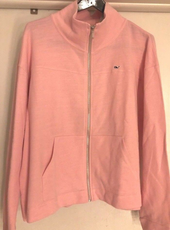 NWT Vineyard Vines Flamingo Rosa Cotton Front Zip Sweater Rosa  MEDIUM  50% OFF
