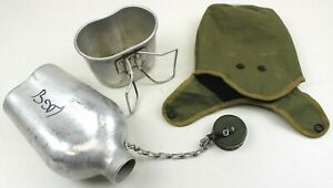 GENUINE-FRENCH-ARMY-WATER-BOTTLE-amp-COVER-ORIGINAL-USED-SURPLUS-AUC2