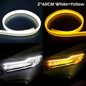 Super Thin 60cm Car Soft Tube LED Strip Lights Daytime Running Turn Signal Lamps