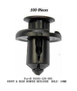 100 Pcs Bumper Clip Fender Retainer Hood Moulding Grill 91503-SZ3-003 For Honda