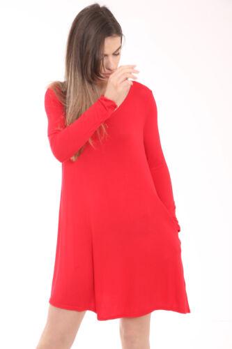 U81 Neu Damen Frauen Langärmeliges Top Zwei Taschen Kleider Übergröße Bedrucktes