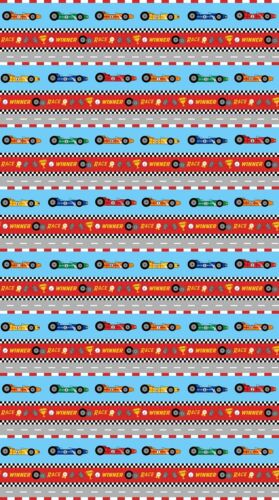 Race Cars Border Stripe Car Northcott Quilt Fabric by the 1//2 yard